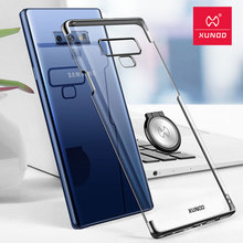 for Samsung Galaxy Note 9 Transparent Electroplated Ultra-thin XUNDD phone case with magnet ring holder stand cover