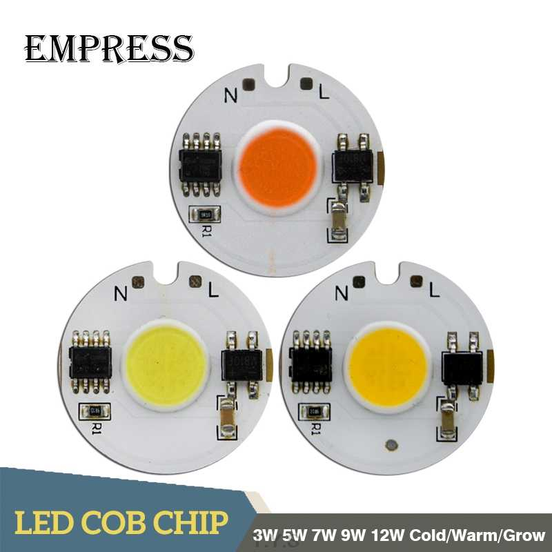 LED COB Chip AC 220 3W 5W 7W 9W 12W Smart IC High Power Energy saving Cob Chip Plant Grow Light For DIY LED Downlight Spotlight