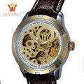 2016 el más nuevo ouyawei esqueleto reloj superior de la marca de lujo de oro reloj de los hombres de cuero relojes de pulsera mecánicos reloj hombre
