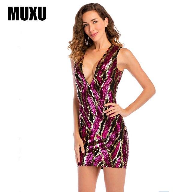 5d1bf18c55 MUXU sexy red sequin dress vestidos mujer women glitte womens clothing  clothes women bodycon jurk short summer dresses mini