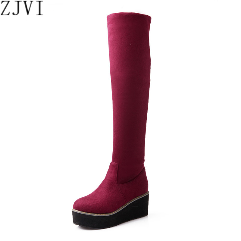 ФОТО ZJVI stretch Nubuck Black red blue wedge platform women thigh high Martin boots womens sexy Winter autumn fashion boot shoes