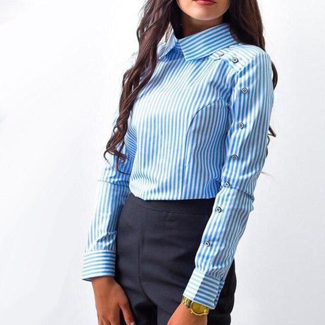 Rayé Bouton Casual Femmes tops et Chemisiers 2018 Nouveau Printemps mode À Manches Longues Tournent Vers Le Bas Chemise Vintage OL Tops femelle