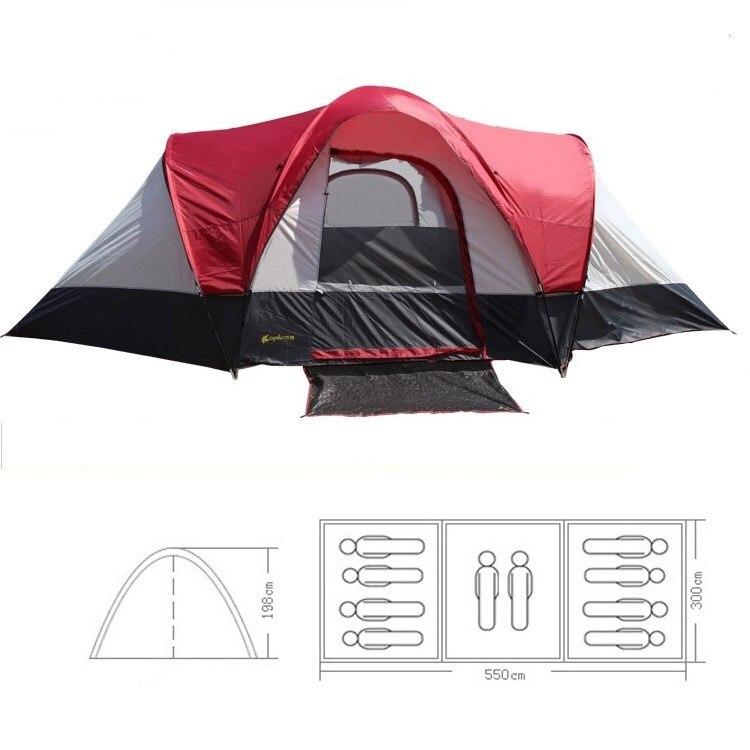 2015 nouveau style ultralarge 8-10 personnes 3 chambre double couche imperméable camping tente contre le vent de tempête