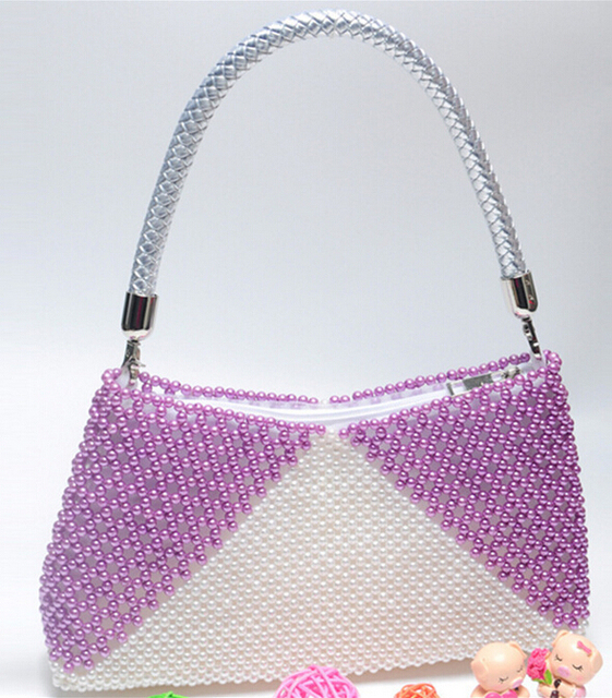 Hand-Made Beading Shoulder Bag,women pearl hand bags,beaded women's bag,ladies  handbag,Hand-Made Beading Shoulder Bag