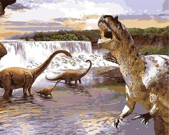 ธรรมชาติสัตว์ไดโนเสาร์น้ำมันวาดภาพวาดด้วยมือสีบ้านตกแต่งสีภาพสีโดยตัวเลขห้องของขวัญ