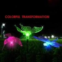 Nowość Butterfly Dragonfly Ptak Dziedziniec LED Lampy Trawnik Na Zewnątrz Ogród Światła Słonecznego Kolorowe Transformacji Wodoodporna Światła