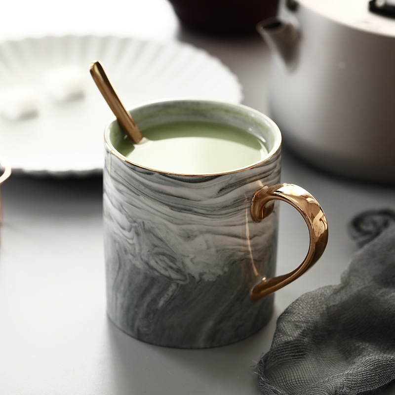 European gold cup holder and cup handle marble ceramic mug office water cup couple coffee cup birthday present Кубок