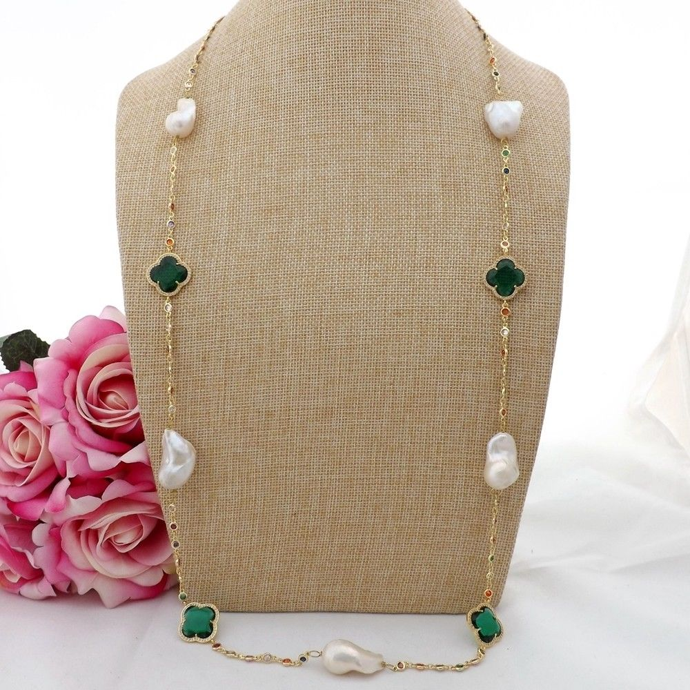 GE090603 37 White Keshi Pearl Green Crystal Cz pave Chain NecklaceGE090603 37 White Keshi Pearl Green Crystal Cz pave Chain Necklace