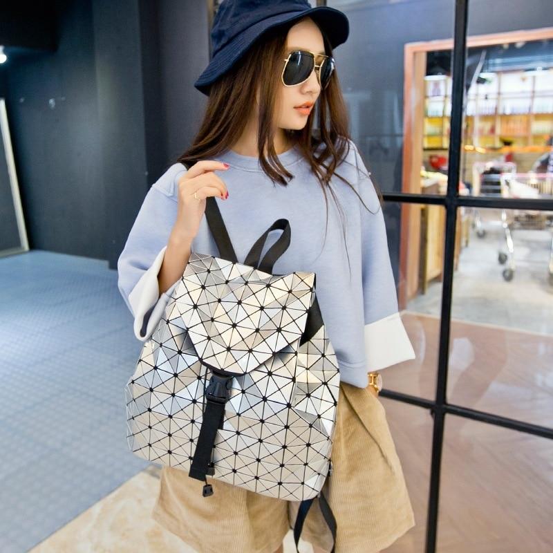 Fashion BAO Women Backpacks Diamond Lattice Geometry Quilted Ladies Japan Backpacks Sac School Bag For Teenage girl Logo 2018