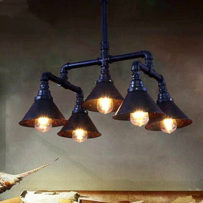 Edison Style Water Pipe Pendant Light Fixture With 5 Lights Loft