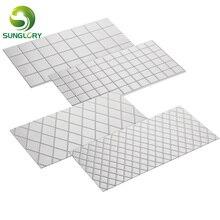 4PCS Grid Imprint Mat Set Texture Sheet Buttercream Fondant Cake Border Decoration Baking DIY Mold