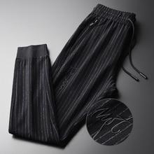 Minglu 春メンズパンツプラスサイズ 4xl ファッション糸染め縦縞男性のズボン弾性ウエスト刺繍スキニーパンツ