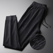 Minglu Spring Mens Pants Plus Size 4xl Fashion Yarn dyed Vertical Stripes Mens Trousers Elastic Waist Embroidered Skinny Pants