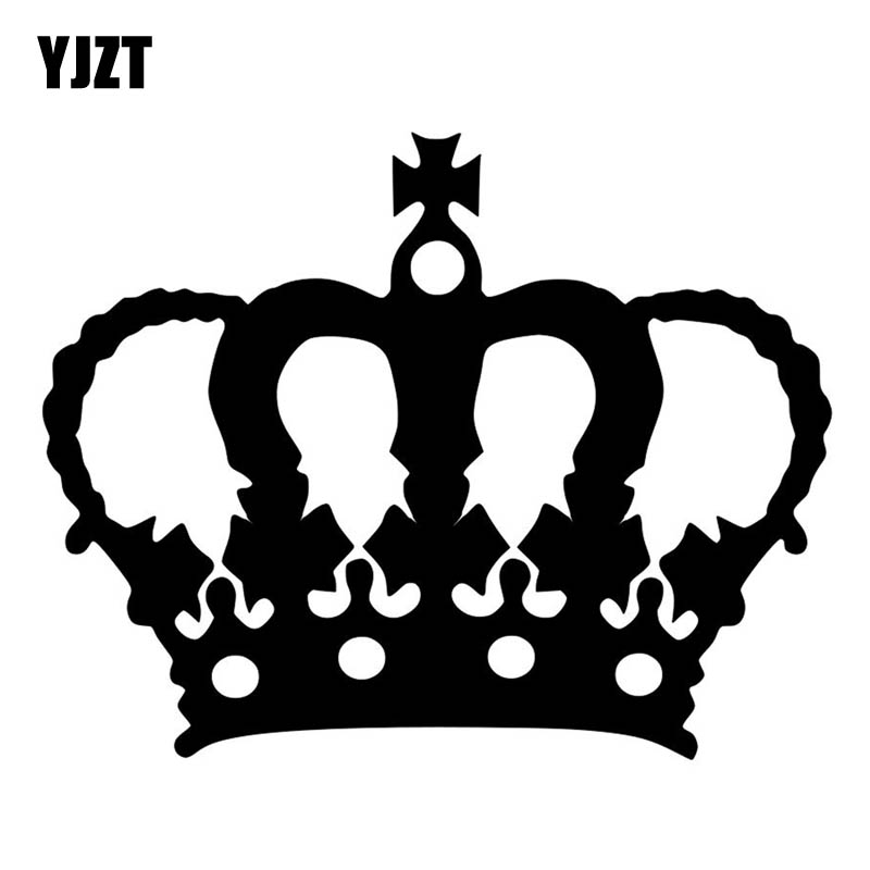 YJZT 12.7CM*10.1CM Cross Core Personality Crown Vinyl Car Sticker Decal Black/Silver C13-0006