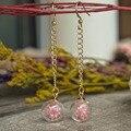 Розовый Babybreath Настоящий Цветок Длинные Серьги Падения Для Женщин Корейский Ювелирные Изделия Богемского Симпатичные Кристалл Подвески Рождество