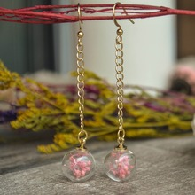 Pink Gypsophila Real flower in the glass ball dangling Handmade earrings gift for her