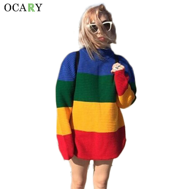 best service b735e 61802 Aliexpress.com : Harajuku Striped Frauen Pullover Mode Pull Hiver  Gestrickten Pullover Mujer Lange Pullover Damen Körper Tops Größe Weste von  ...