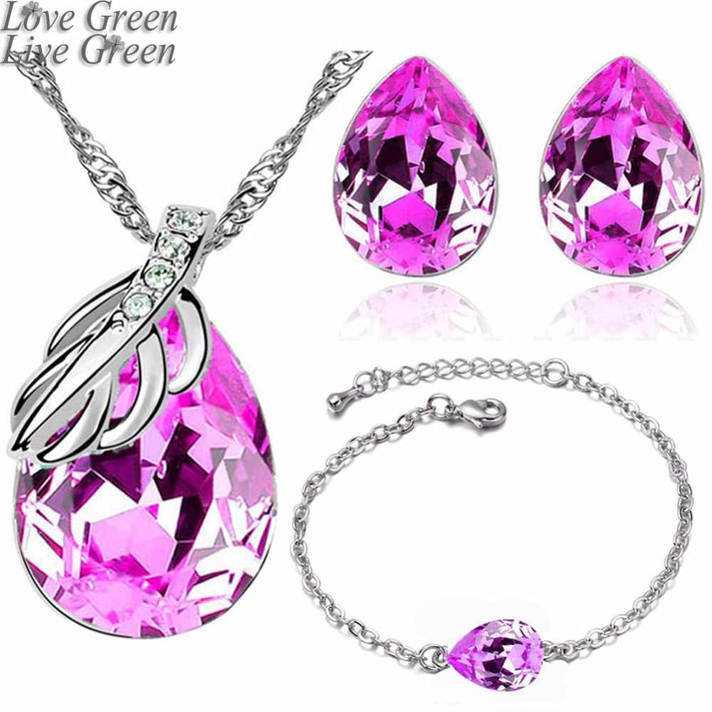 2017 brand wedding bridal women  white gold color leaf water tear drop pendant necklace earrings fashion jewelry sets 80125