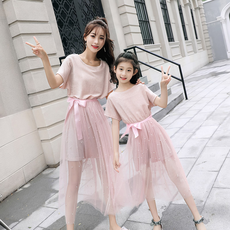 2018 Pearl New Mother Daughter Dress Bowknot Happy Family Matching Dresses Pink Mother Daughter Clothing Summer Slim Dress ...