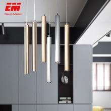 Lámpara led colgante de tubo largo para decoración, cocina, Isla, comedor, tienda, Bar, tubo cilíndrico, lámpara de cocina, ZDD0008