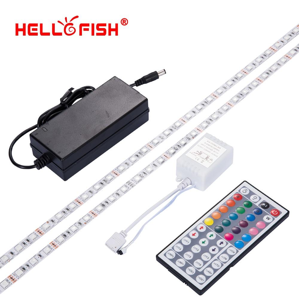5M High brightness 5050 RGB led strip non waterproof 12V flexible light stripe 60LED tape 44key remote controller set Hello Fish