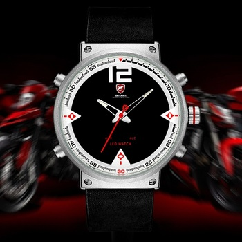 Super Cool Men's Quartz Double Time Digital Watch Men Sports Watches Shark Luxury Brand LED Military Men Dress Watches / SH549