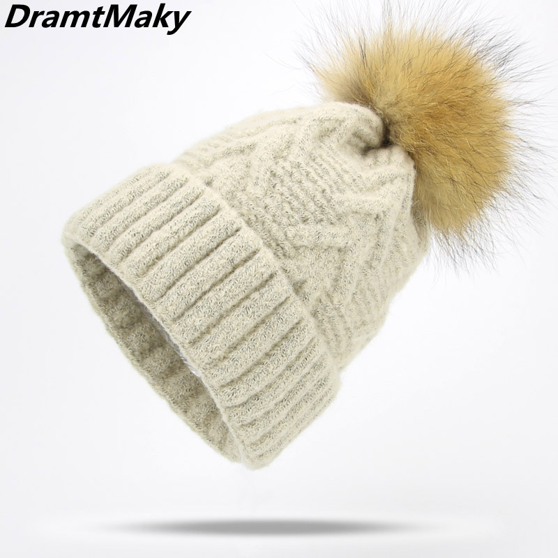 Fashion Brand Women's Winter hats Ball Cap Pom Poms Winter Hat For Women Girl 'S Hat Knitted   Beanies   Cap Women   Skullies     Beanies