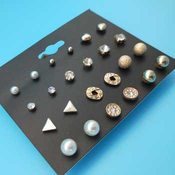12 Pair/lot Fashion Geometric Square Crystal Stud Earrings for Women Man Gold/Silver Heart Earings Set Pusheen Creole Aros