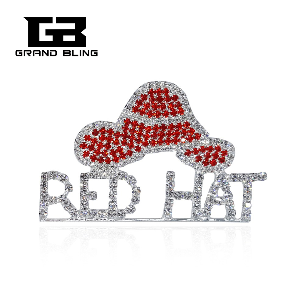 FREE SHIPPING! Rhinestone Red Hat Theme Jewelry Word Brooch Pins for Society