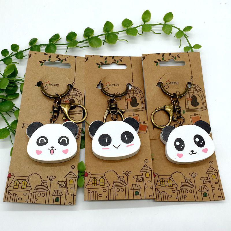 Hand Painted Panda Head Key Chain Key Ring Vintage Wooden Accessory Bag Charms Pendant Men Women Panda Jewelry Ethnic Gift