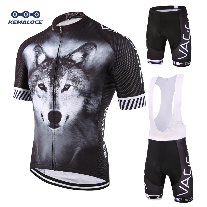 Wolf Full Sublimation Nytt Design Sykling Wear Summer Pustende Svart Sykling Klær Quick Dry Compression Bike Uniform Kit