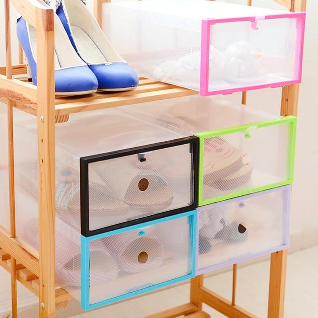 Foldable Storage Box Drawer Type Transparent Shoe Box DIY Plastic Box Closet  Organizer