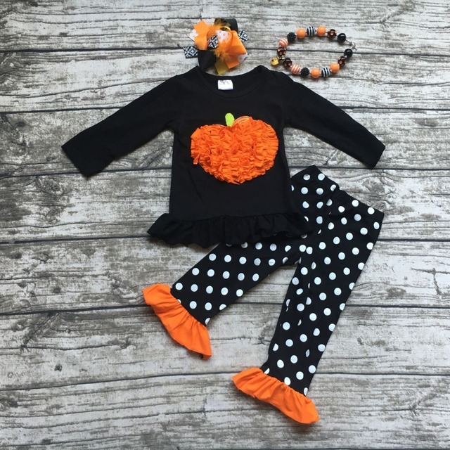 girls halloween boutique outfits girls Halloween pumpkin clothes kids winter white polka dot pant sets with necklace and bows