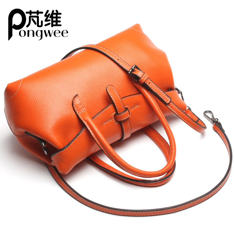 PONGWEE Genuine Leather Bags Totes Real Cow Leather Ladies HandBags Women Messenger Bags High Quality Designer Luxury Brand Bag