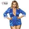 RB70145 azul de venda Quente das mulheres lingerie sexy boa qualidade material macio pijamas com cinto 2017 novo estilo plus size babydoll