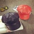Niñas sombrero de la boina de cuero de la pu masculino invierno primavera cap octogonal cap niños cap cap pintor enarboló sombrero del bebé