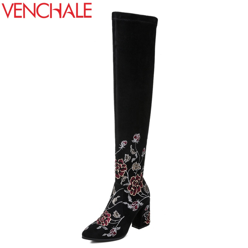VENCHALE women fashion high boots round toe thick heel ladies over knee woman side zipper cow suede upper embroider spring boots venchale woman fashion boots real genuine leather cow suede high heel black duck green side zipper square toe mid calf boots