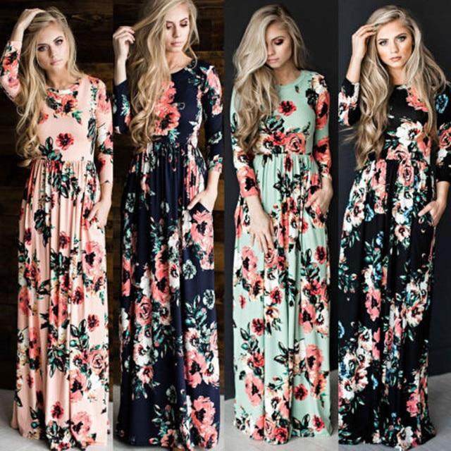 8164f826890 Nouveau Casual Femmes D'été Floral Robe Longue Taille Haute Femelle À  Manches Longues Parti
