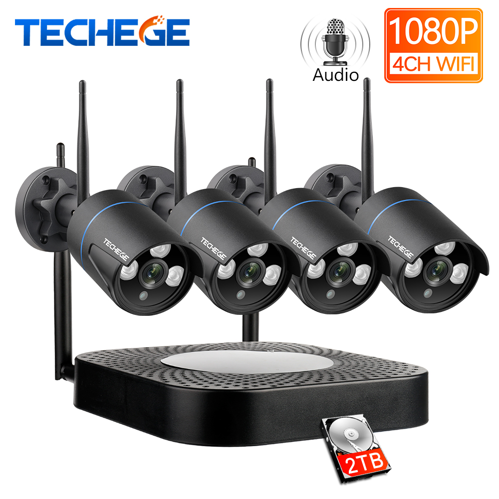 Techege 4CH CCTV System 1080P HD Audio Wireless NVR Kit Outdoor Night Vision Security IP Camera