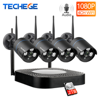 Techege 4CH CCTV система 1080 P HD аудио беспроводной NVR комплект наружного ночного видения безопасности ip-камера wifi CCTV система Plug & Play