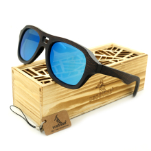 BOBO BIRD BG001d Creative Design Unisex Sunglasses Handmade Ebony Wooden Frame And Bule Polarized Lens oculos