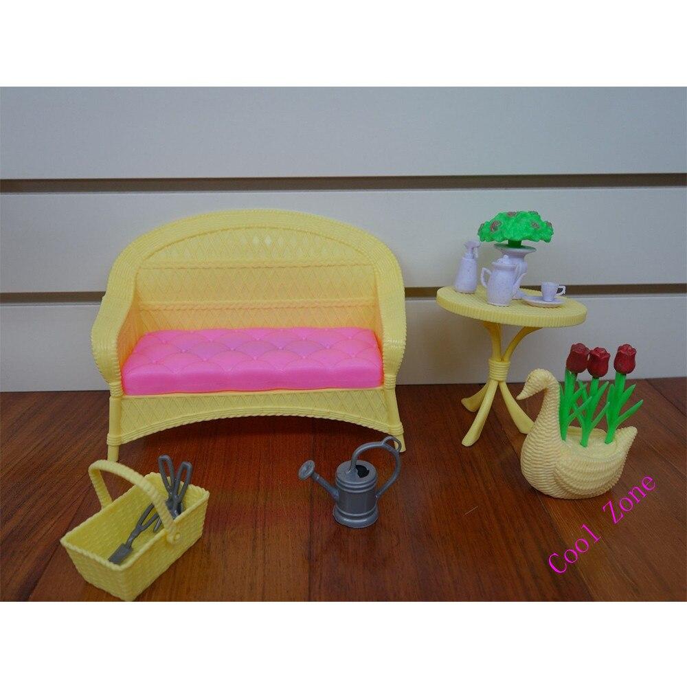 Miniatura Muebles De La Luz Solar Del Jard N Para Barbie Doll  # Muebles Solares