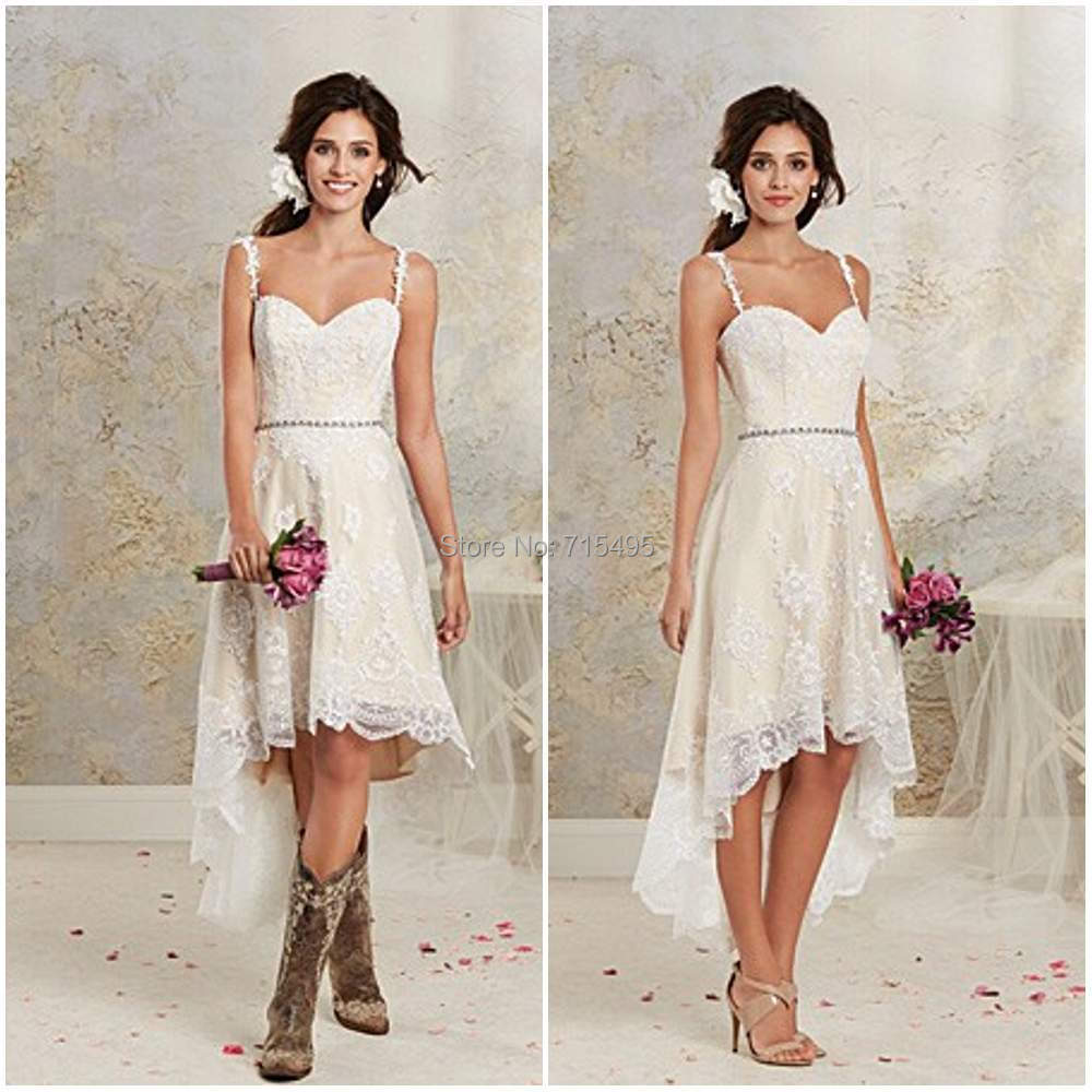 Fashionable Spaghetti Strap Beaded Lace Wedding Dress