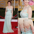 2013 Red Carpet Dress Sexy Round neck With Flower A line Open Back Floor length Chiffon And Tulle Celebrity Backless Dresses