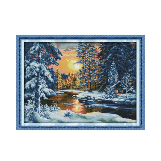 Beautiful Snow Cross Stitch Kit, Forest Sunset Snow DIY handmade fabric cloth cross embroidery sewing decorative painting
