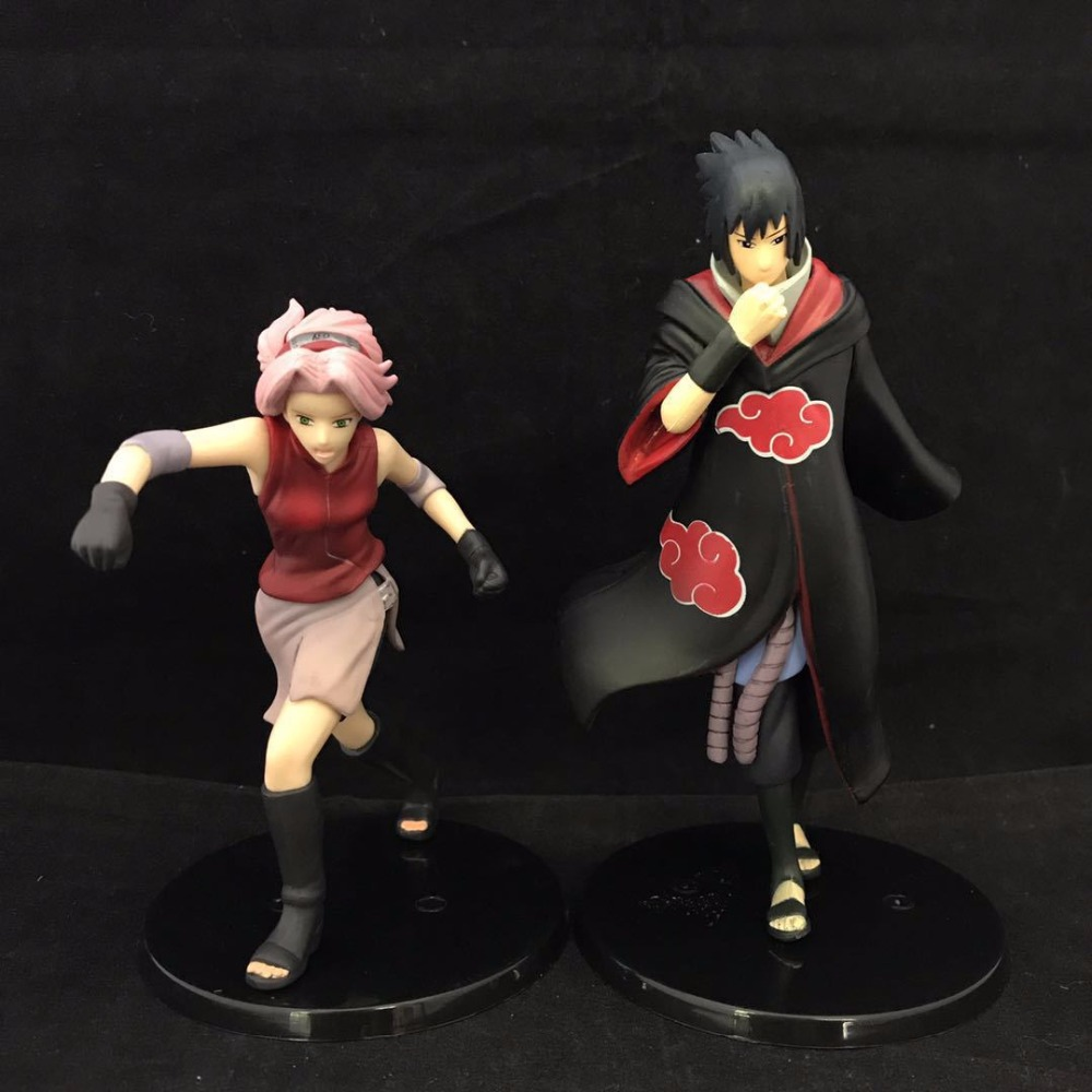 Free Shipping 6 Naruto Anime Uchiha Sasuke & Haruno Sakura Set Boxed 15cm PVC Action Figures Collection Model Doll Toy Gift new hot 23cm naruto haruno sakura action figure toys collection christmas gift doll no box