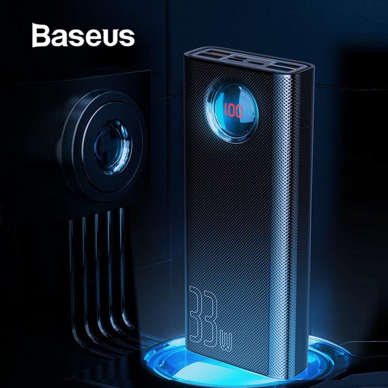 Chargeur de batterie externe Portable Baseus 30000 mAh pour iPhone Samsung Xiaomi 4 USB PD3.0 QC 3.0 chargeur rapide batterie externe