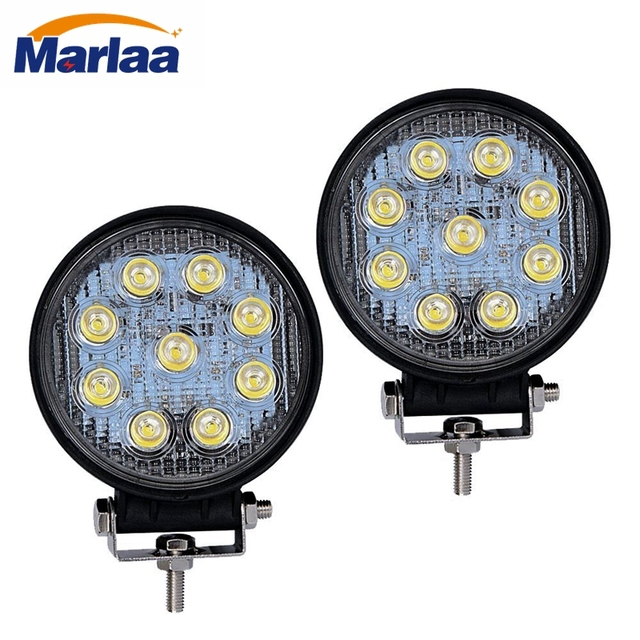 2pcs 27W Round LED Work Light Lamp Off Road High Power For Jeep 4x4 ATV  Tractor 30 Degree Spot Light 60 Degree Flood Light