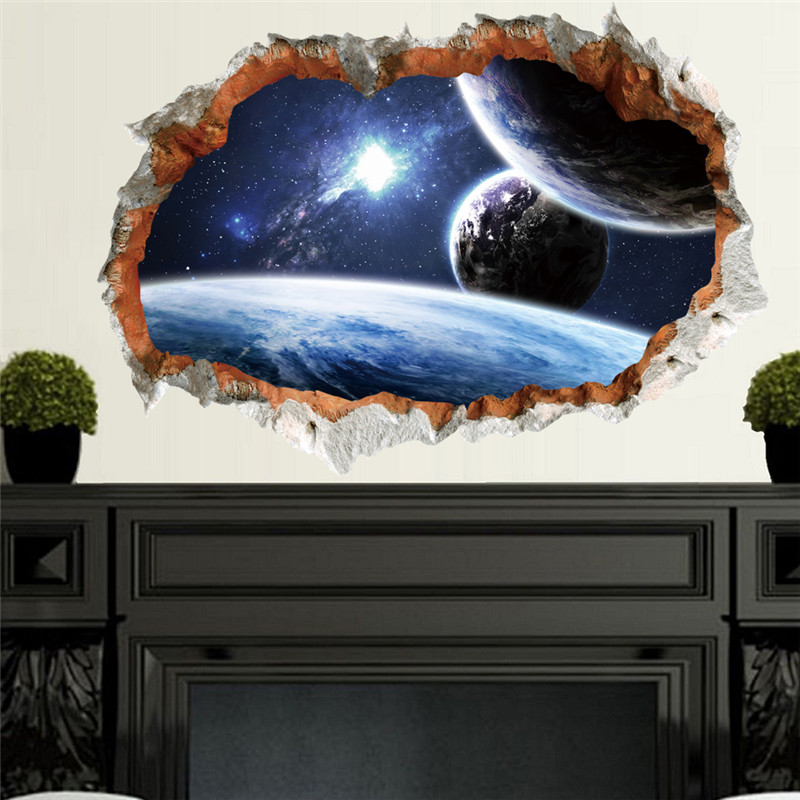 Outer space planet wall sticker for kids room 3d effect for Outer space home decor