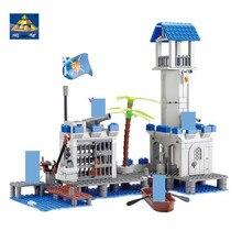 цена на KAZI 87012 365pcs 3D Construction educational Bricks Building Blocks pirates Navy Headquaters Enlighten toys for children